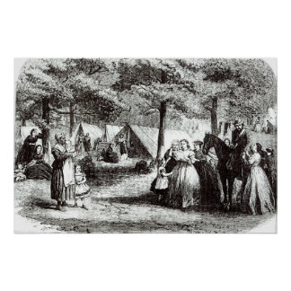 Southern refugees encamping in the woods poster