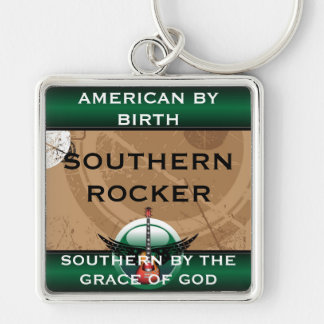 Southern Rocker Premium Key Ring Silver-Colored Square Keychain