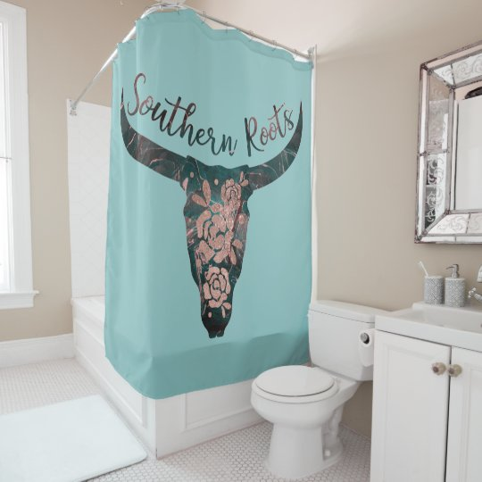 Southern Roots Country Longhorn Pink Rose Green Shower Curtain