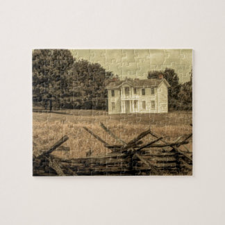 Southern Rural Landscape Rustic colonial Farmhouse Jigsaw Puzzle