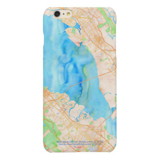 Southern San Francisco Bay Watercolor Map Glossy iPhone 6 Plus Case