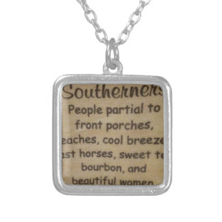Southern slang silver plated necklace