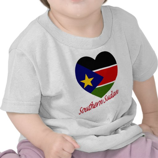 Southern Sudan Flag Heart with Name T-shirts