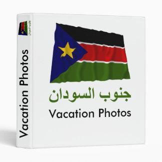 Southern Sudan Waving Flag with Name in Arabic Binder