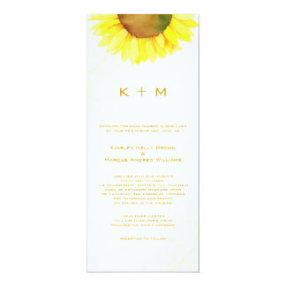 Southern Sunflower Monogram Wedding Card