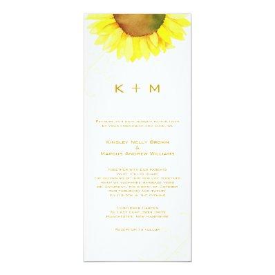 Southern Sunflower Monogram Wedding Card