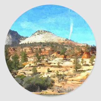 Southern Utah Vista with Red Soil Classic Round Sticker