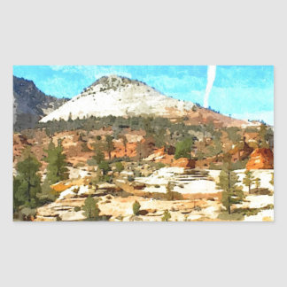 Southern Utah Vista with Red Soil Rectangular Sticker
