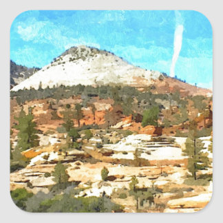 Southern Utah Vista with Red Soil Square Sticker