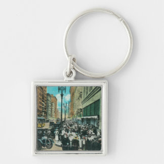 Southern View of Broadway from 6th Street Silver-Colored Square Keychain