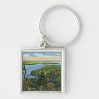 Southern View of Lake from Split Rock Light Silver-Colored Square Keychain