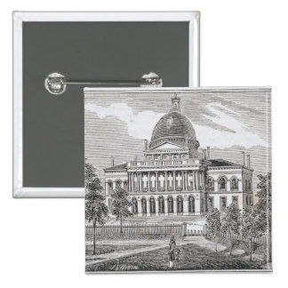 Southern view of the State House in Boston Button