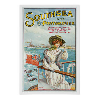 Southsea Portsmouth England Vintage Travel Poster