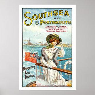 Southsea & Portsmouth UK Vintage 1905 Travel  Art Poster