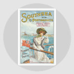 Southsea Portsmouth UK Vintage Travel Poster Art Round Stickers