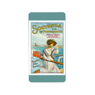 Southsea & Portsmouth Vintage Travel Advertisement Address Label