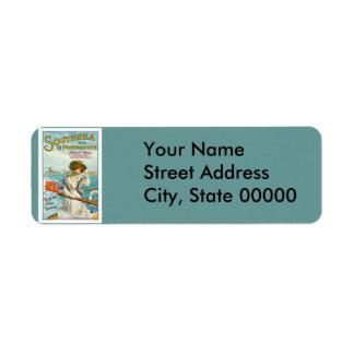 Southsea & Portsmouth Vintage Travel Advertisement Return Address Label