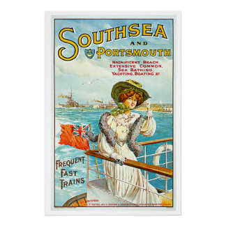 Southsea & Portsmouth Vintage Travel Advertisement Poster