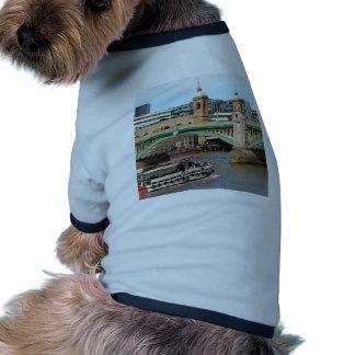 Southwark Bridge, Thames River, London, England Doggie Tee Shirt