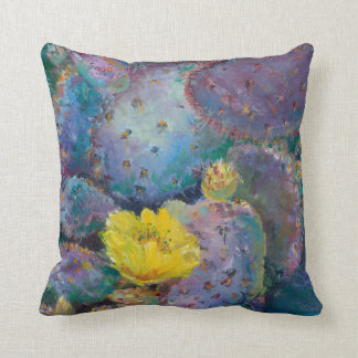 Southwest accent pillow with cactus and flower