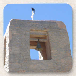 Southwest Adobe Bell Tower With Bird Ontop Beverage Coaster