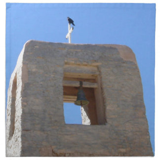 Southwest Adobe Bell Tower With Bird Ontop Cloth Napkin