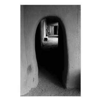 Southwest Adobe Passage: Black & White Photo Print