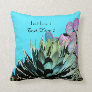 Southwest Agave and Purple Cactus on Turquoise Throw Pillow