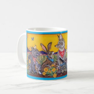 Southwest Animal Colorful Whimsical Coyote Desert Coffee Mug