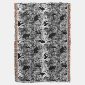 Southwest Animals on Horsehair Pottery Pattern Throw Blanket