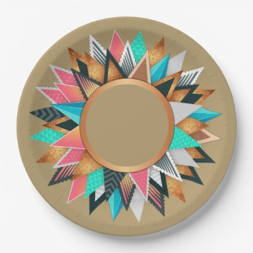 Aztec Themed Southwest Aztec Mexican Geometric Aqua Tan Pattern Paper Plate