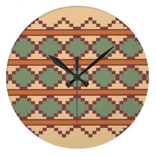 Southwest Aztec Tribal Indian Design Clocks