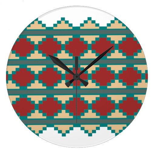 Southwest Aztec Tribal Indian Design Clock