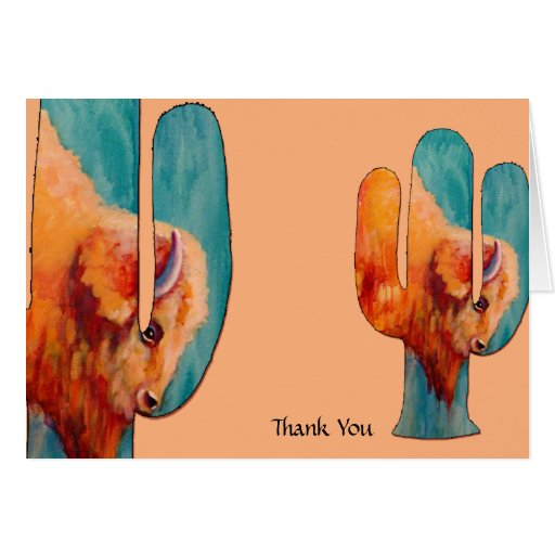 Southwest Cactus and Buffalo Thank You Stationery Note Card