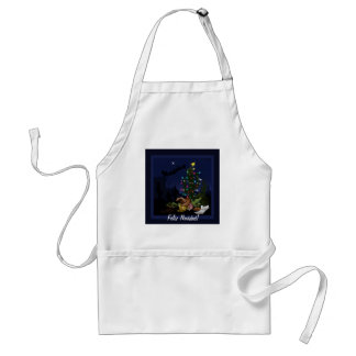 Southwest Christmas cactus cartoon Adult Apron