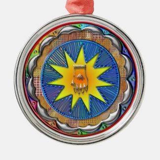 Southwest Circle Art Round Metal Christmas Ornament