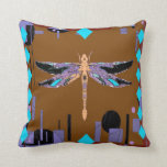 Southwest Coffee Brown Turquoise Pillow by Sharles