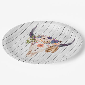 Southwest Cow Skull Tribal Markings and Flowers Paper Plate