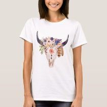 Southwest Cow Skull Tribal Markings and Flowers T-Shirt