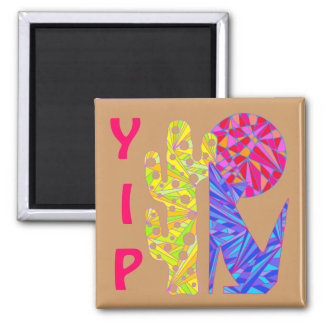 Southwest Coyote Wolf Moon Art YIP Colorful Magnet