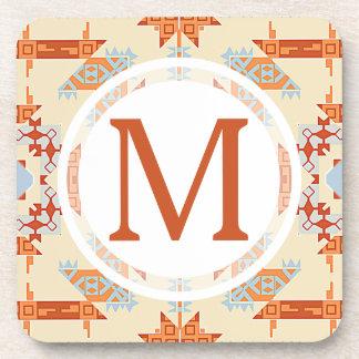 Southwest Desert Monogram Pattern Coaster