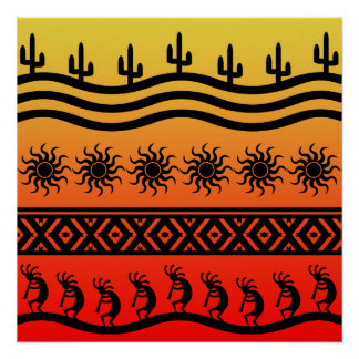 Southwest Desert Sunset Kokopelli Perfect Poster