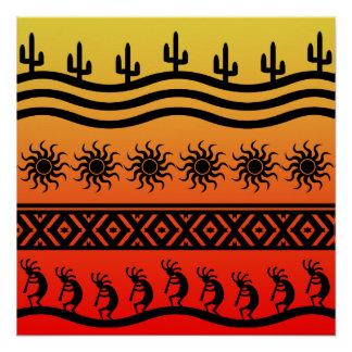 Southwest Desert Sunset Kokopelli Poster