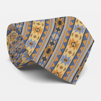 Southwest Design Gold Blue Gray Neck Tie