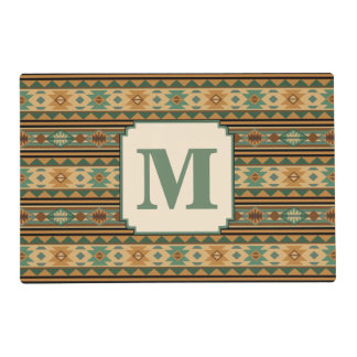 Southwest Design Green Brown Personalized Placemat