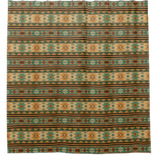 Southwest Design Green Brown Tan Shower Curtain