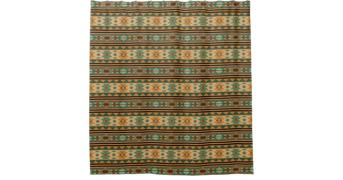 Southwest Design Green Brown Tan Shower Curtain Zazzle
