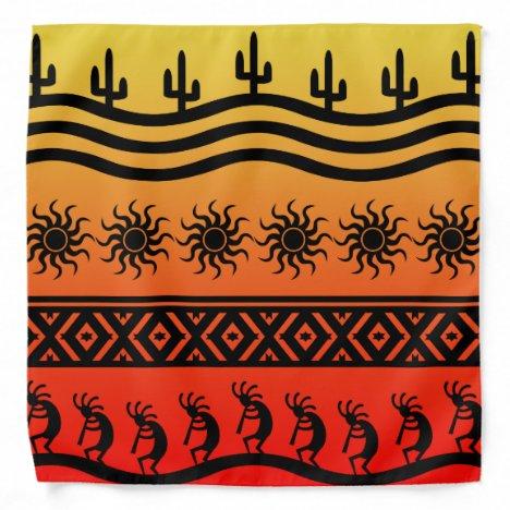 Southwest Design Kokopelli Cactus Sun Bandanna