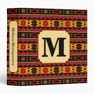 Southwest Design Red Black Gold Monogram Binder