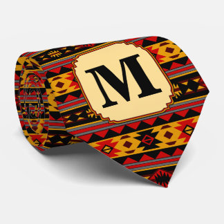 Southwest Design Red Black Gold Monogram Neck Tie